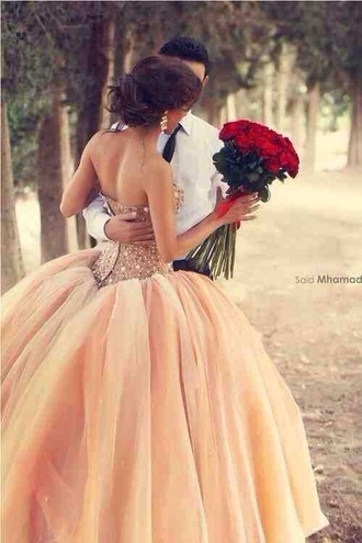 dress peach dress tulle dress prom dress quinceanera dress princess wedding dresses