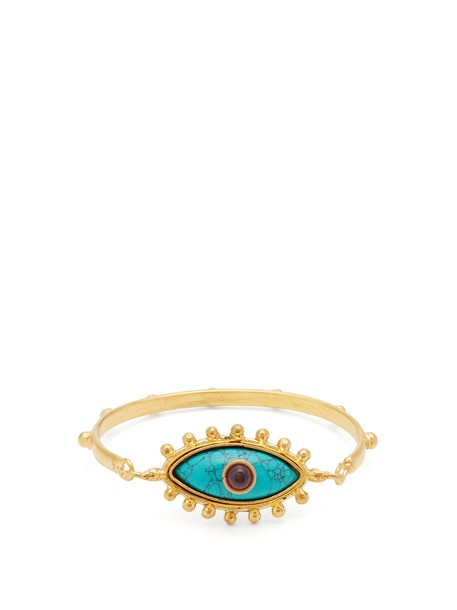 Sylvia Toledano cuff gold turquoise blue jewels
