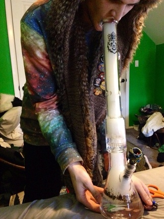 sweater hippie weed marijuana colorful smoke too top shirt jumper hype cosmo starry stars space boho reggae