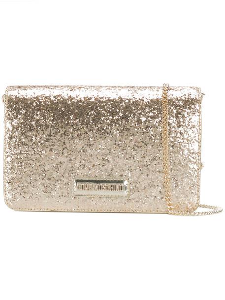 LOVE MOSCHINO glitter women bag shoulder bag leather grey metallic