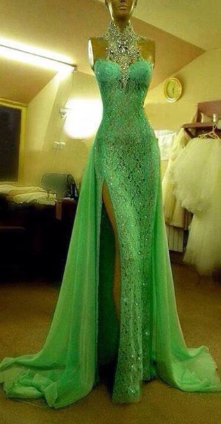 Aliexpress.com : Buy Gorgeous Green High Neck Lace Prom Dresses With Slit Sexy Mermaid Crystal Beaded vestido de formatura from Reliable lace simple wedding dress suppliers on 27 Dress