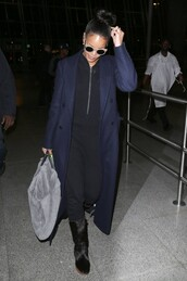 jumpsuit,rihanna,coat,navy,fall outfits,sunglasses