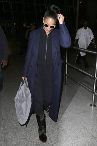 jumpsuit rihanna coat navy fall outfits sunglasses