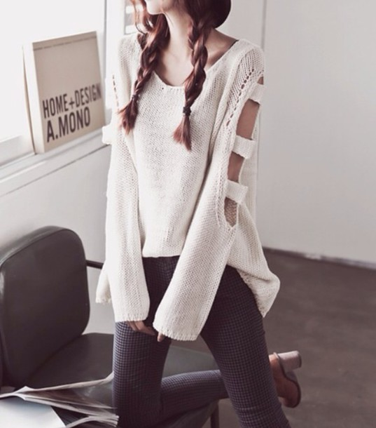 white cream fall sweater  cutouts sweater cute sweaters cutout sleeves oversized sweater top ivory color cut-out tumblr