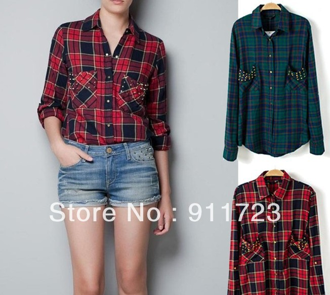 2013 Spring New Arrival Ladies Shirt/Rivet Big Pocket Checked Design Long Sleeve Casual Shirt For Women Free Shipping-in Blouses & Shirts from Apparel & Accessories on Aliexpress.com