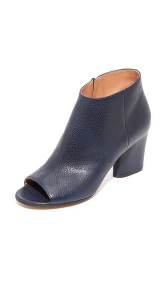 booties leather navy shoes