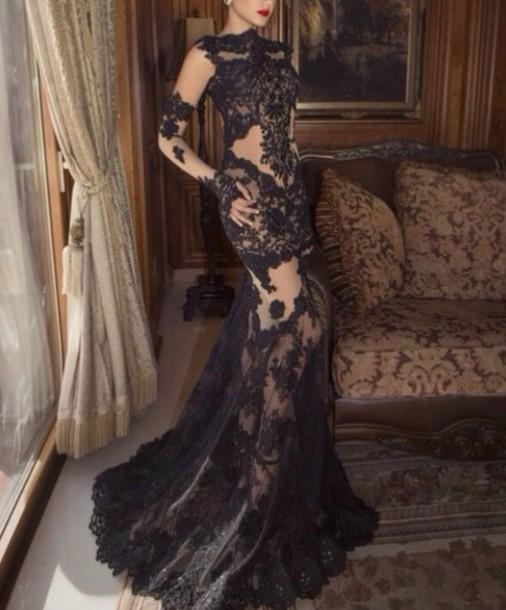 Dress lace sheer black long mermaid elegant wedding dress