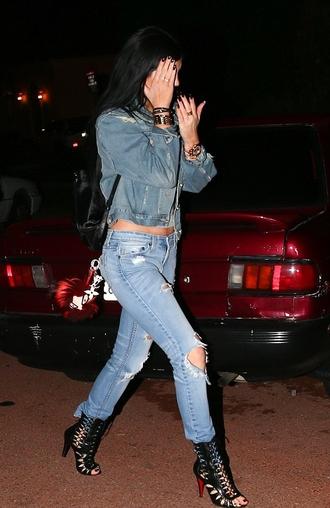 shoes sandals kylie jenner jeans denim high heels