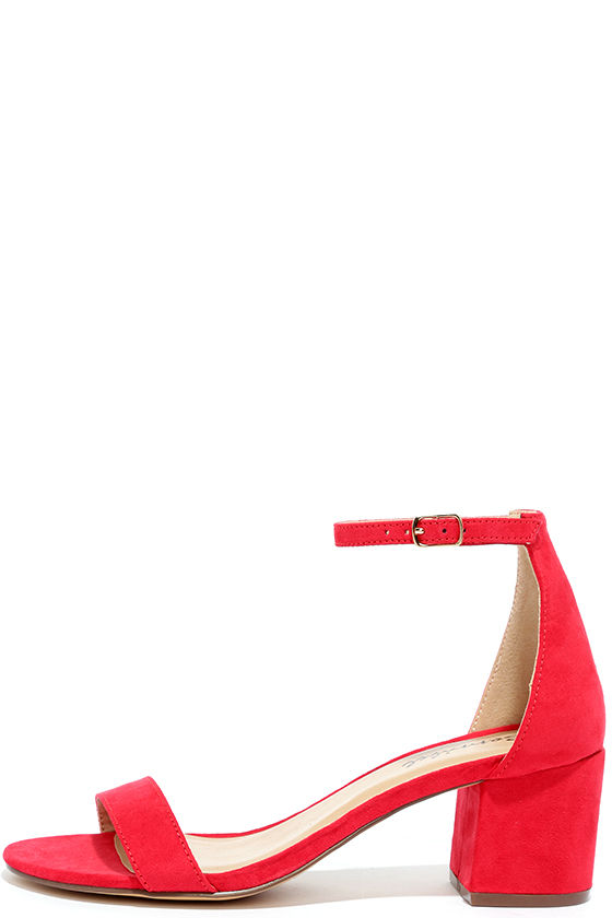 Babe Squad Red Suede Heeled Sandals