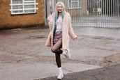 kayla hadlington,blogger,shorts,socks,soft grunge,pastel hair,fuzzy coat,pink coat,platform sandals,shirt,coat,shoes,belt,gloves,dress