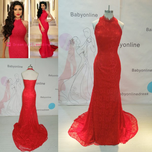 mermaid prom dress red dress lace dress long train dress sexy backless dress elegant dress fashion dress