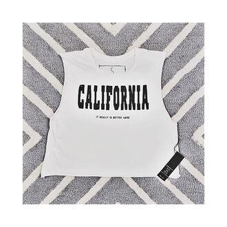 tank top free vibrationz california california girl california top crop tops white crop tops graphic tee graphic top graphic crop top hips and hair