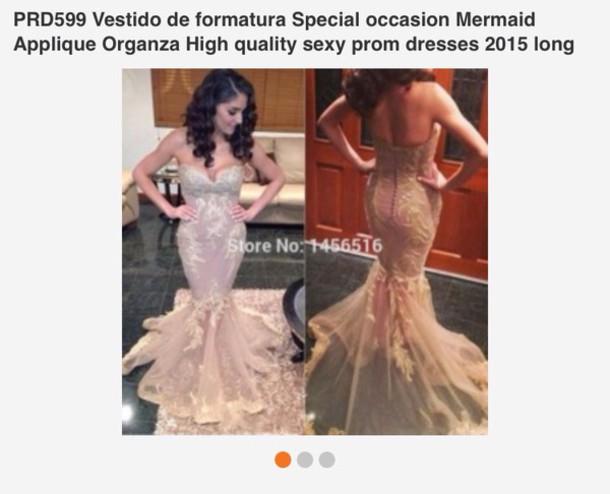 Dress Champagne Color Mermaid Prom Dress Prom Dress Wheretoget