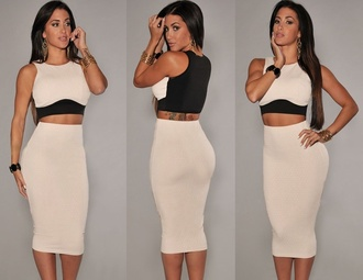 top skirt cropped cream party dress hot dress sexy dress high waisted skirt two-piece midi skirt crop tops skirt dress beige long pencil skirt