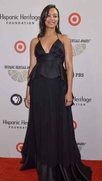 black maxi dress zoe saldana maternity maternity dress