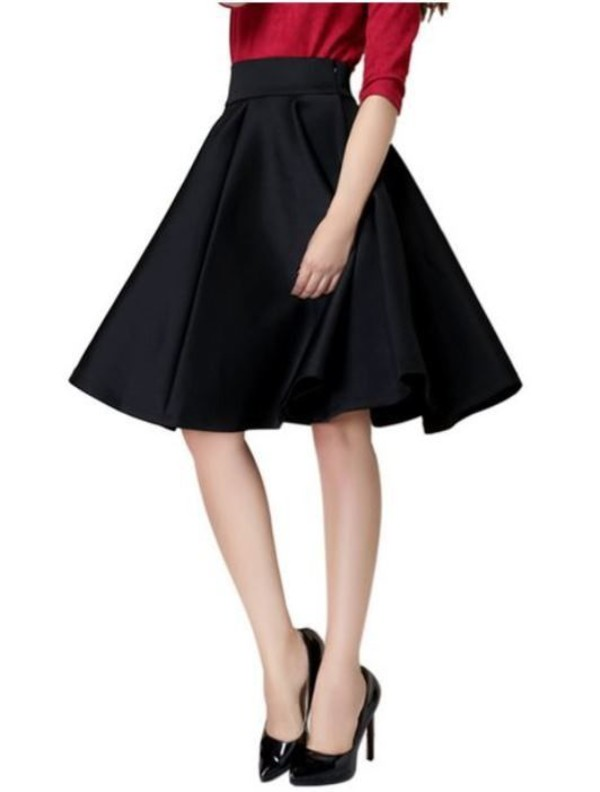 Skirt: black skirt, plain black skirt, high waist skirt, pleated ...