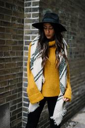 sweater,tumblr,yellow,mustard,turtleneck,turtleneck sweater,pants,black pants,scarf,felt hat,hat,black hat