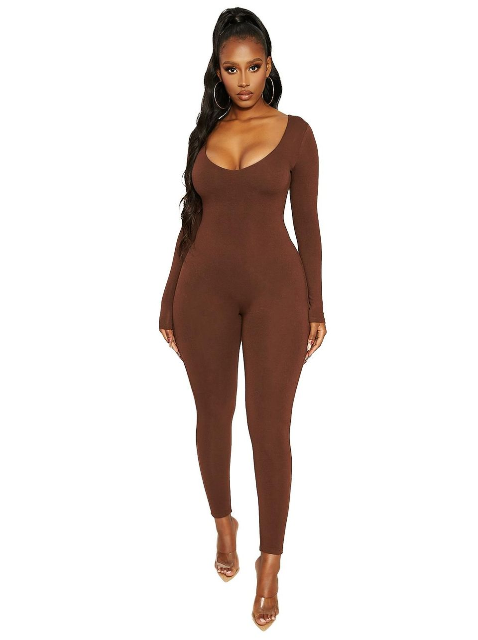 Naked Wardrobe - The NW Got Me Deep V Jumpsuit (White,One