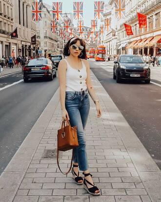 shoes sandals white top jeansd denim bag brown bag sunglasses