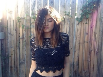 shirt lace crop top black girly summer outfits