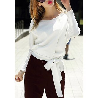 sweater white casual bow elegant trendy long sleeves fashion style fall outfits clothes rose wholesale-jan