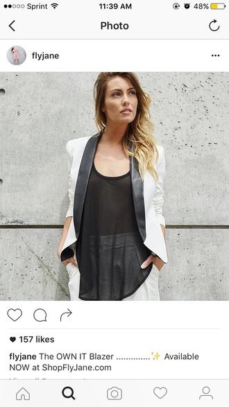 jacket white blazer spring outfits faux leather jacket blazer with leather cuff blazer black and white tank top