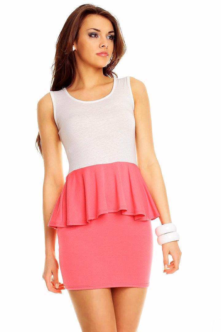 Trendy peplum minikleid weiß/pink gr. uni (34/36/38)