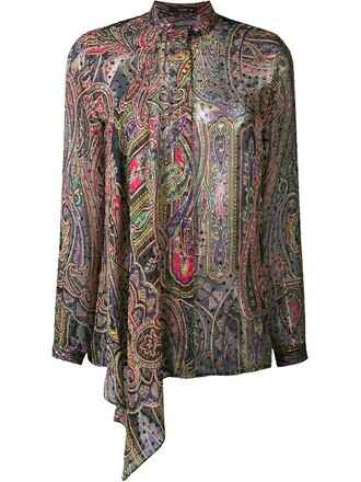 blouse women print blue silk paisley top