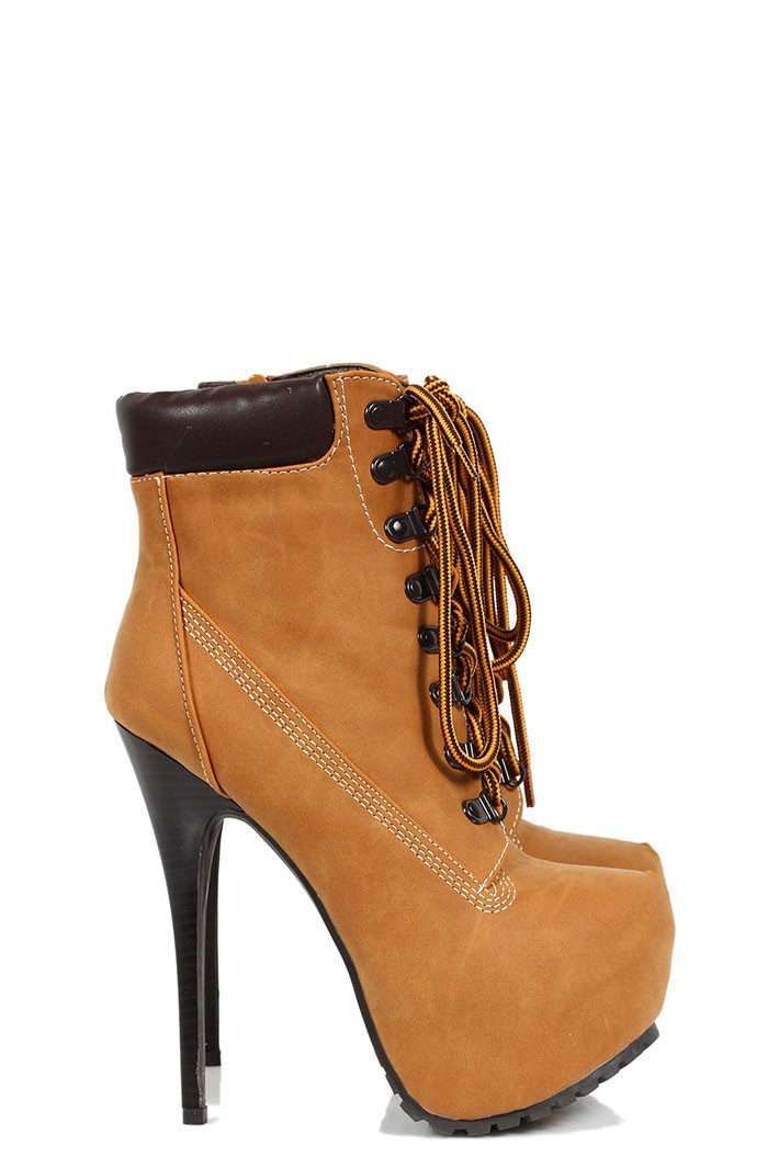 high heel boots timberland style camel. Black Bedroom Furniture Sets. Home Design Ideas