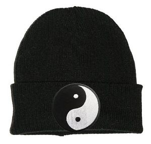 Yin Yang Black Beanie Patch Hat Woolly Slouch Unisex Hipster 90s Stoner Hippy | eBay
