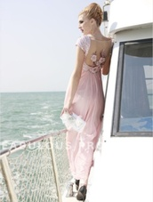 dress,sequins,beaded,dress on a boat,light pink,short sleeve dress,long dress,long prom dress,low back dress