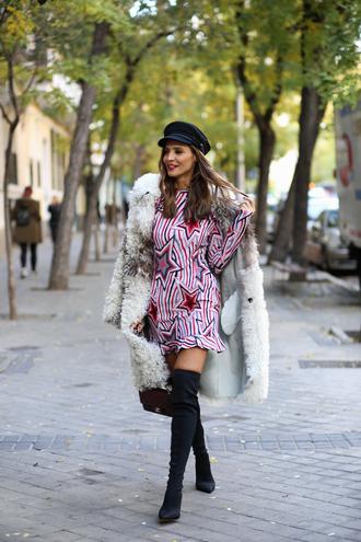 dress tumblr mini dress long sleeves long sleeve dress stars coat fur coat date outfit white fur coat hat fisherman cap boots black boots over the knee boots