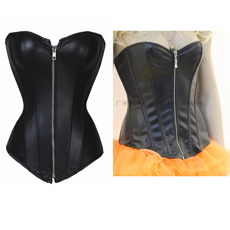 New 2013 Sexy Black Gothic Corset Top push up With Thong leather corsets women lingerie plus size intimates corsets & bustiers-in Bustiers & Corsets from Apparel & Accessories on Aliexpress.com