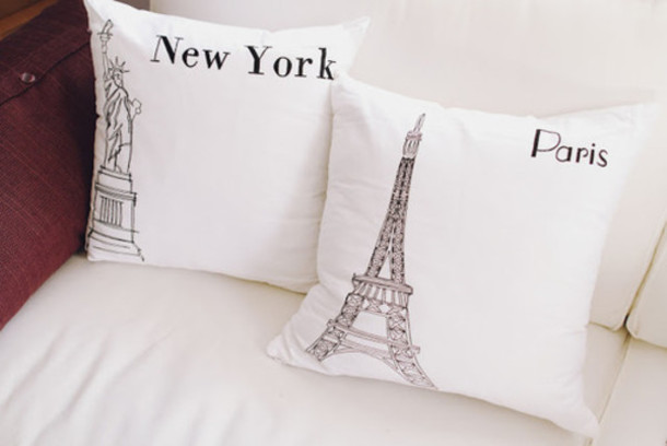 Jewels pillow new york city paris pillow white classy wishlist french black