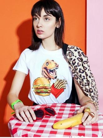 shirt white t-shirt hamburger