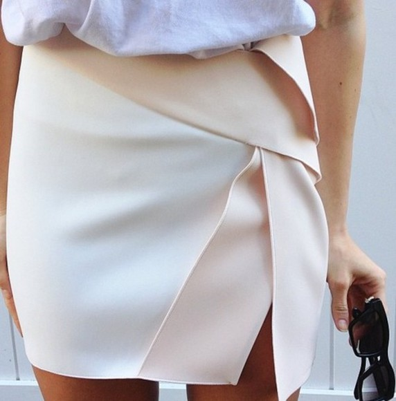 wrap white pink skirt cream wrap skirt assymetrical assymetrical skort assymetric