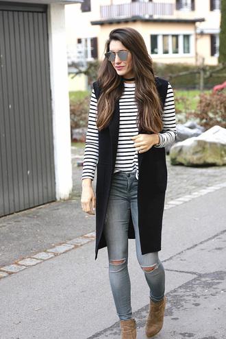 seekingsunshine blogger jacket shirt jeans shoes sunglasses jewels vest striped t-shirt sleeveless coat ankle boots boots