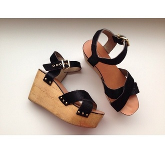 shoes flatforms wedges heels wooden wood leather black straps