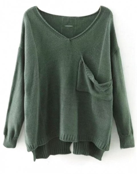 sweater girly sweatshirt green v neck