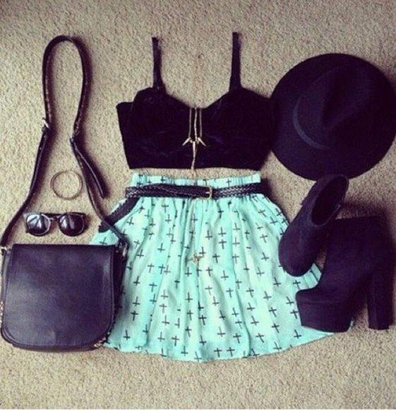 shirt turquoise black leather cross print women shoulder bags crop tops skirt black hat tank top jewelry sunglasses shoes bag jewels mint cross belt mint green top blue skirt design teal skirt cross skirt shorts crosses highwaisted shorts black crop top high heels