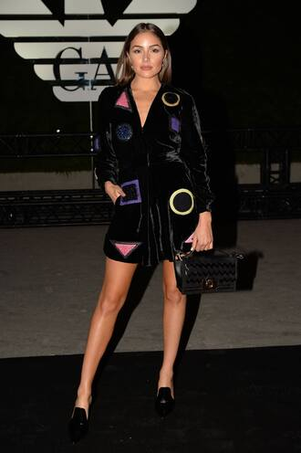 dress olivia culpo velvet velvet dress paris fashion week 2016 pilgrim shoes high heel loafers