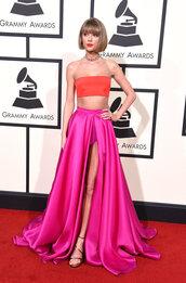 dress,top,grammys 2016,taylor swift,pink,skirt,crop tops,bandeau,sandals,shoes
