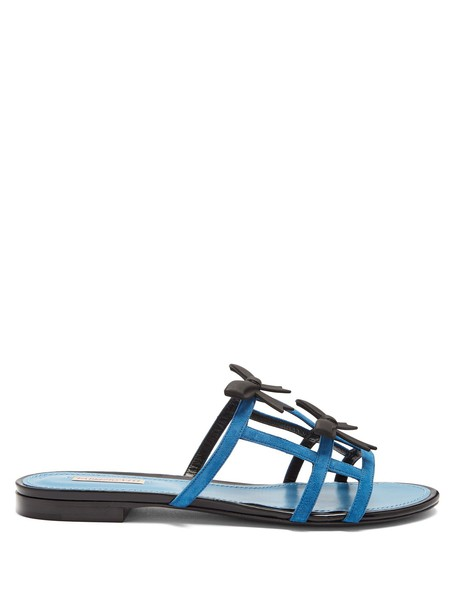 bow sandals suede blue shoes