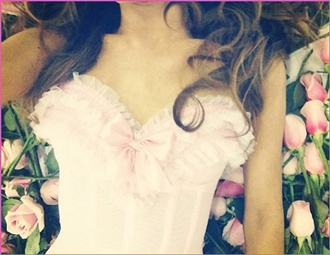 dress ariana grande lace pink cute bustier thin straps bows flirty preppy