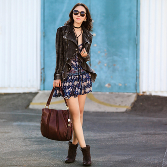 fit fab fun mom blogger shoes sunglasses jewels jacket leather jacket suede jacket black jacket mini dress blue dress animal print ankle boots brown boots black leather jacket brown bag printed dress short dress black choker boots