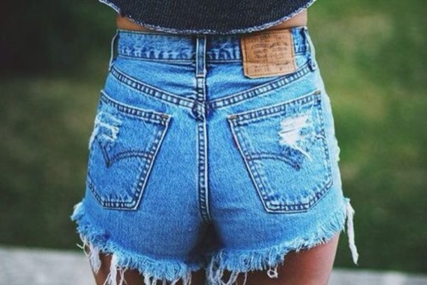 High Waisted Distressed Jean Shorts - Is Jeans