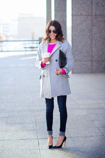 hello fashion coat sweater t-shirt jeans shoes bag