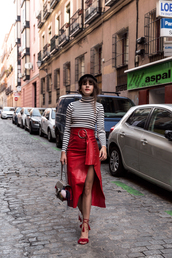 the fashion fraction,blogger,top,skirt,bag,shoes,hat,striped top,red skirt,midi skirt,gucci,gucci bag,red heels,high heel sandals