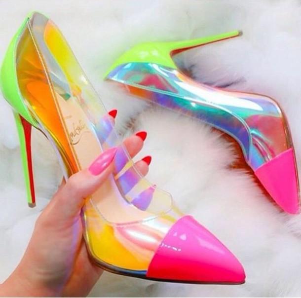 af2df97648f shoes transparent neon heels belt high heel pumps multicolor