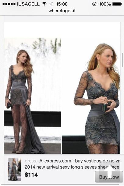 dress grey dress serena van der woodsen lace dress blake lively dress